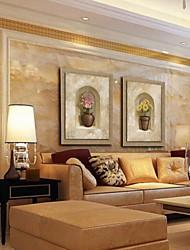 pittura a olio moderna insieme girasole astratto di 2 dipinti a mano di lino naturale con telaio allungato