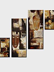 Ölgemälde Dekoration Zusammenfassung Hand bemalte Leinwand mit gestreckten umrahmt - Satz von 4