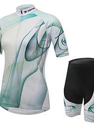 cheap -Women's Short Sleeves Cycling Jersey with Shorts Bike Shorts Jersey Clothing Suits, Breathable, 3D Pad