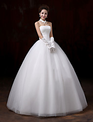 cheap -Ball Gown Strapless Floor Length Tulle Over Lace Custom Wedding Dresses with Lace by Embroidered Bridal