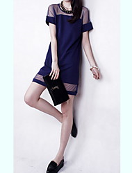 cheap -Women's Round Dresses , Polyester Sexy/Casual/Lace Short Sleeve Gerry