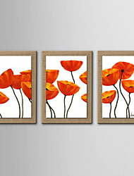 cheap -Oil Painting Decoration Abstract Flower Hand Painted Natural Linen with Stretched Framed - Set of 3