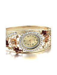 Femme Montre Tendance Quartz Imitation de diamant Alliage Bande Fleur Bracelet Elégantes Doré
