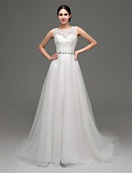 A-Line Jewel Neck Court Train Lace Tulle Wedding Dress with Beading Appliques Sash / Ribbon by Shiqiushi