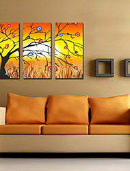 pintura a óleo decoração da árvore abstrata mão sorte telas pintadas com esticada enquadrado - conjunto de 3