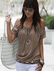 Tee-shirt Aux femmes,Couleur Pleine Décontracté / Quotidien simple / Chic de Rue Eté Manches Courtes Col Arrondi Blanc / Noir / Gris