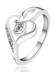 cheap -Xu™ Women's Diamonds 925 Silver Plated Heart-shaped Ring(Color Preserving More Than A Year)