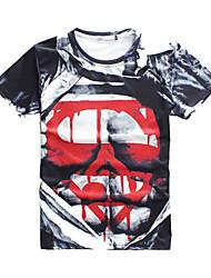 voordelige -Strand/Informeel/Opdruk/Schattig/Feest/Zakelijk Rond - MEN - T-shirts (Katoenmengeling)met Korte Mouw