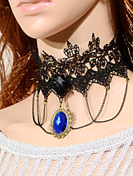 cheap -Vintage Black Flower Bule Gem Necklace Classical Feminine Style