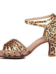 "Scarpe da ballo - Disponibile ""su misura"" - Donna - Latinoamericano / Salsa - Customized Heel - Satin - Leopardo"