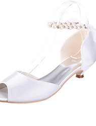 cheap -Women's Shoes Silk Spring Summer Low Heel for Wedding Silver Fuchsia Blue Champagne Ivory