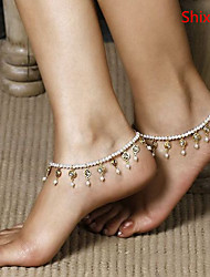cheap -Women's Anklet Crystal Pearl Imitation Pearl European Beaded Anklet White Jewelry For Daily Casual