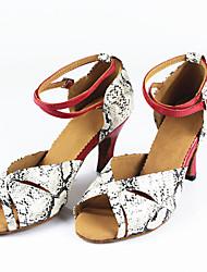 Damen Latin Kunstleder Sandalen Verschlussschnalle Maßgefertigter Absatz Maßfertigung