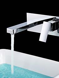 abordables -Moderne Montage mural Soupape céramique 2 trous Mitigeur deux trous Chrome, Robinet lavabo
