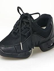 """cheap -Women's Men's Kids' Dance Sneakers Fabric Canvas Flat Practice Beginner Professional Indoor Lace-up Flat Heel Black Under 1"""" Non"""