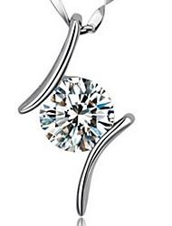 Недорогие -Очаровательный Для вечеринки Для офиса На каждый день Ожерелья с подвесками Стерлинговое серебро Стразы Ожерелья с подвесками ,