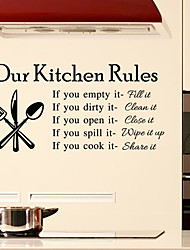 cheap -Wall Stickers Wall Decals Style Kitchen Rules English Words & Quotes PVC Wall Stickers