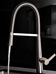 Contemporary Pullout Spray Brushed Finish Brass One Hole Single Handle Kitchen Faucet