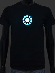 Rechargeable Battery Included Light Up LED EL T-shirt Iron Man 1 Adjustable Sound Activated and Multiple Flash Modes