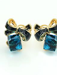 Stangøreringe Krystal Rhinsten Guldbelagt 18K guld Imitation Diamond Mode Blå Smykker 2 Stk.
