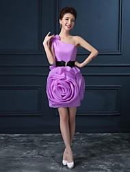 A-line ein Schulter kurz / Mini Organza Satin Cocktail Party Kleid mit Blume (n)