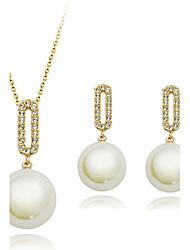 Women's Fashion Elegant Shiny Necklace & Earrings Wedding Jewelry Set