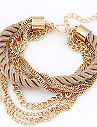 cheap -Women's Chain Bracelet Wrap Bracelet - Vintage Cute Work Casual Plaited Festival / Holiday Multi Layer Statement Braided / Cord Jewelry