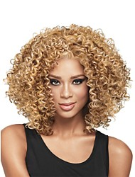 cheap -Synthetic Wig Curly Glueless African American Wig Blonde Women's Capless Natural Wigs Medium Synthetic Hair