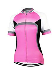 Arsuxeo Maglia da ciclismo Per donna Manica corta Bicicletta Maglietta/Maglia Top Asciugatura rapida Design anatomico Zip anteriore