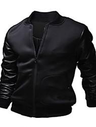お買い得  -男性用 プレイン カジュアル ジャケット,長袖,PUレザー / ポリエステル,ブラック / ホワイト