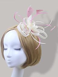 abordables -plumas fascinator satén flores tocado estilo femenino clásico