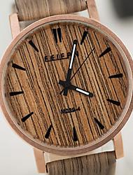 baratos -Masculino Mulheres Unissex Relógio de Pulso Único Criativo relógio Relógio Madeira Quartzo Impermeável de madeira PU Banda VintageBranco