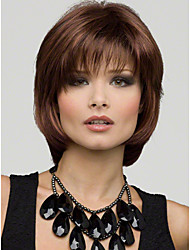 cheap -Synthetic Wig Straight Bob Haircut / Layered Haircut / With Bangs Synthetic Hair Natural Hairline / Side Part Brown Wig Women's Short /