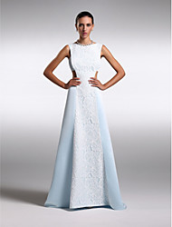 cheap -Sheath / Column Bateau Neck Floor Length Chiffon / Lace Prom / Formal Evening Dress with Lace by TS Couture®