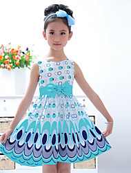 cheap -Girl's Going out Print Dress Summer Sleeveless Bow Yellow Pink Light Blue