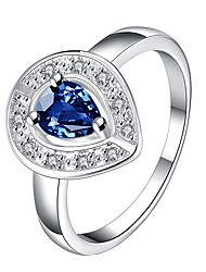 cheap -Ms Zirconium Platinum Diamond Heart-shaped RingImitation Diamond Birthstone