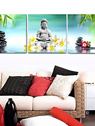 Prints Poster Nature Green Wall Painting Religion Buddha  Pictures Print On Canvas  3pcs/set (Without Frame)