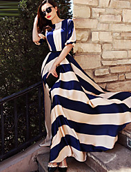 cheap -Women's Puff Sleeve A Line Dress - Striped Maxi Blue & White