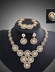 cheap -Lucky Doll Women's Vintage 18K Gold Plated Zirconia Long Tassel Necklace & Earrings & Bracelet & Ring Jewelry Sets