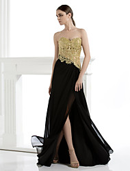 cheap -Sheath / Column Strapless Floor Length Chiffon Lace Formal Evening Black Tie Gala Dress with Appliques by TS Couture®
