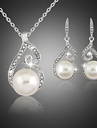 cheap -Women's Jewelry Set Jewelry Set - Pearl, Cubic Zirconia, Silver Plated White