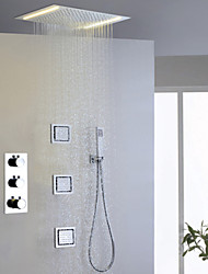 Contemporary Rain Shower Widespread Handshower Included Thermostatic LED with  Brass Valve Three Handles Five Holes for  Chrome , Shower