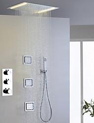 Moderne Douche pluie Séparé Douchette inclue Thermostatique LED with  Soupape en laiton Trois poignées cinq trous for  Chrome , Robinet