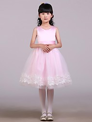 cheap -A-Line Knee Length Flower Girl Dress - Satin / Tulle Sleeveless Jewel Neck with Bow(s) / Sash / Ribbon by
