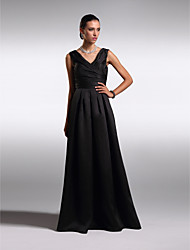 A-Line V-neck Floor Length Satin Prom Formal Evening Dress with Criss Cross by TS Couture®
