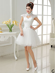 A-Line Princess High Jewel Neck V-neck Short Tulle Bridesmaid Dress by QQC Bridal