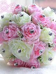"""Недорогие -Свадебные цветы Букеты Свадьба Бусины Полиэстер Satin пена 11,02""""(около 28см)"""