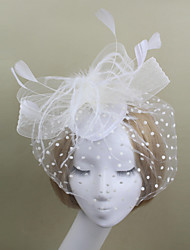 Women Satin/Feather/Net Flowers/Birdcage Veils With Wedding/Party Headpiece Red/Black/White