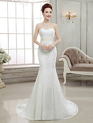 cheap -Mermaid / Trumpet Sweetheart Neckline Sweep / Brush Train Lace Made-To-Measure Wedding Dresses with Beading by