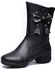 Women's Dance Shoes Boots Real Leather Breathable Cotton-padded Low Heel Black/Red